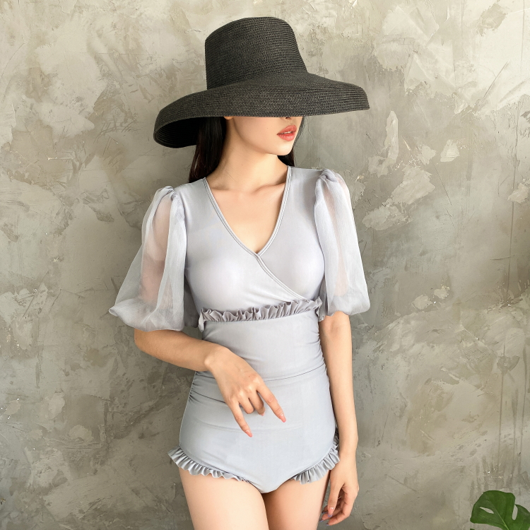Sexy swimsuit Korean style long sleeve sunscreen thin cover belly conservative fairy fan hot spring one-piece swimsuit