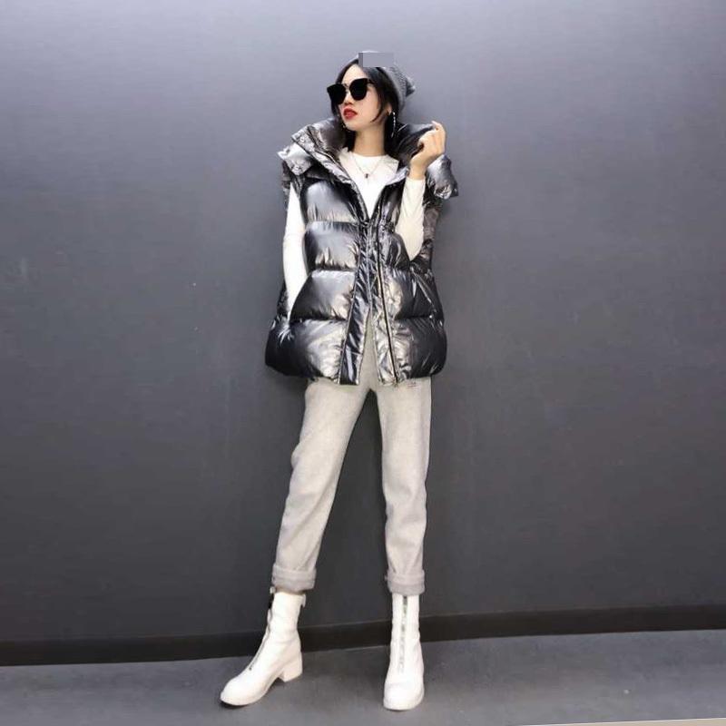 欧洲站冬装女2020新款欧货潮加厚银色亮面白鸭绒羽绒服马甲女外穿