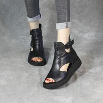 夏季新款半拖鞋2020柒步森林学生软真皮包方头中跟两穿时装凉鞋女