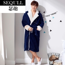 SEQULL flannel nightgown men's winter thick coralline velvet Nightgown bathrobe men's Nightgown large size autumn and winter long