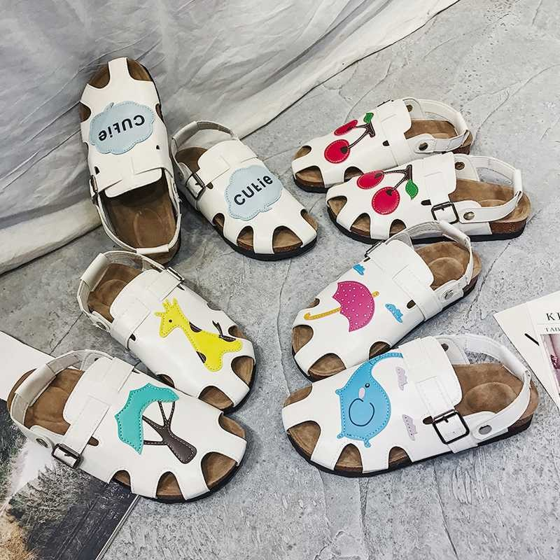 New products in 18 years Baotou cute cartoon sandals female summer 2018 new forest flat soled cork sandals