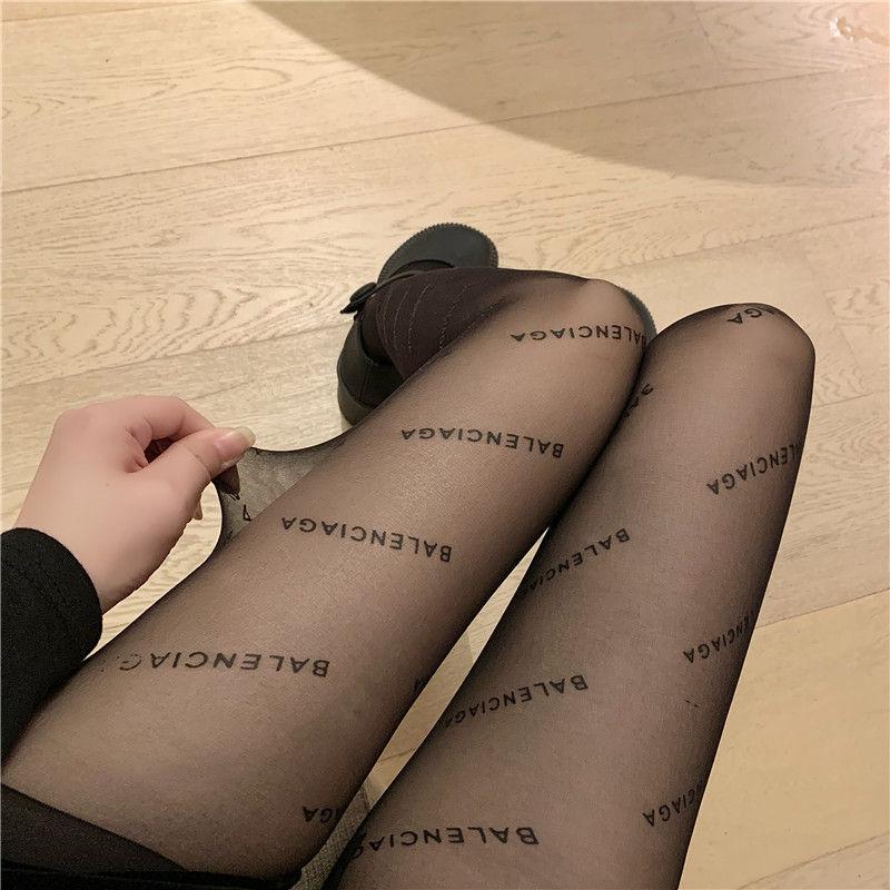 巴黎黑色丝袜女世家字母性感春夏季薄款诱惑网红流行名媛连裤丝袜