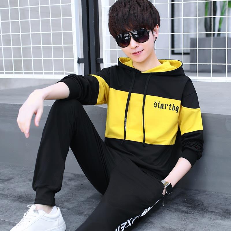秋冬季青少年加绒加厚运动套装男孩韩版潮流帅气初中学生大童秋装