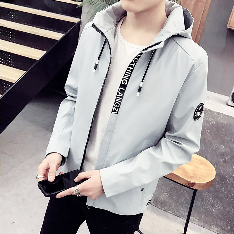 Coat mens spring and autumn 2018 new Korean version trend student handsome sports autumn casual mens jacket trend