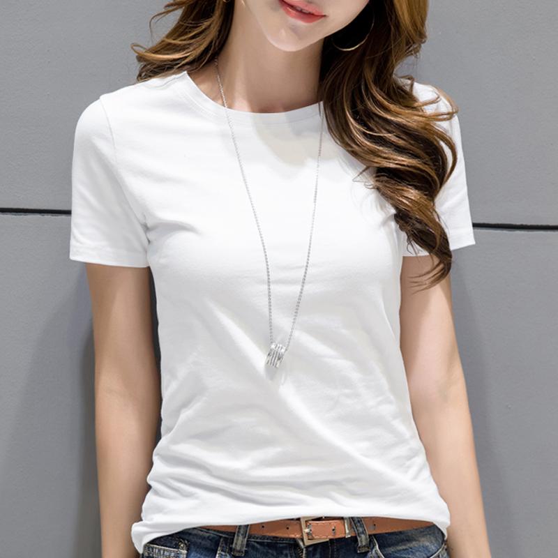 【2件49元】2019新款白色t恤女短袖宽松夏装纯棉韩版半袖上衣体恤