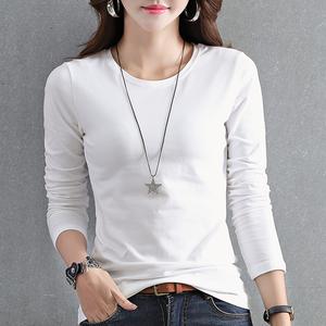 【2件59元】秋季上衣白色长袖t恤女装韩版纯色打底衫春秋2019新款