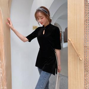 复古中国风女装唐装套装中式盘扣旗袍上衣改良时尚短款民国风秋季