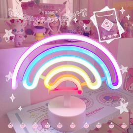 ins少女心彩虹独角兽霓虹灯电池卧室温馨小夜灯房间装饰台灯礼物
