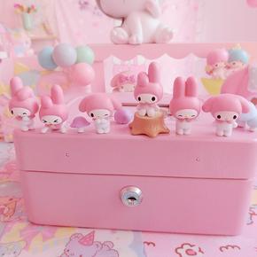 日系可爱美乐蒂粉色迷你公仔摆件 卡通叠叠乐树脂桌面摆件