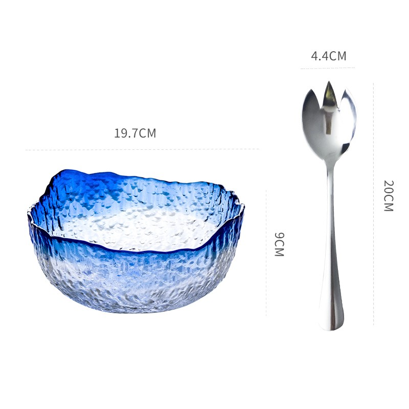 金边水晶餐具大号玻璃碗创意蔬菜水果盘家用沙拉甜品碗