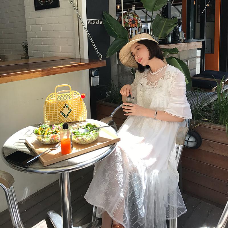 限1000张券【13c】夏季仙仙重工蕾丝大摆连衣裙