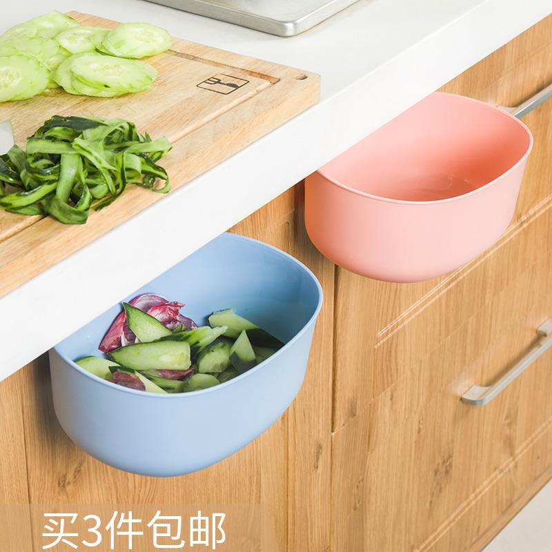 廚房垃圾桶可掛式櫥櫃門衛生間卧室塑料家用門背懸掛式臺面掛壁小