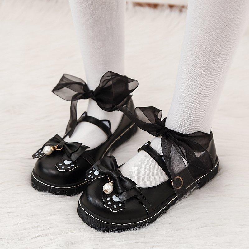 日系lolita洛丽塔花边软妹鞋仙女风平底jk制服小皮鞋子圆头lo少女
