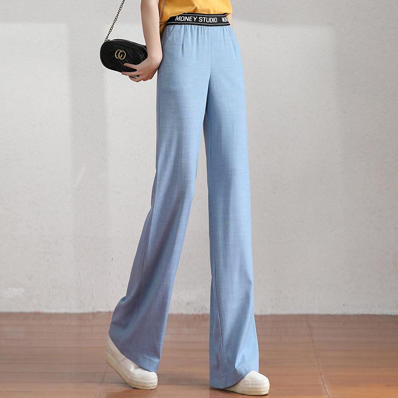 Tencel jeans womens high waist 2020 summer new high waist thin ice silk straight leg pants with loose drop and thin appearance