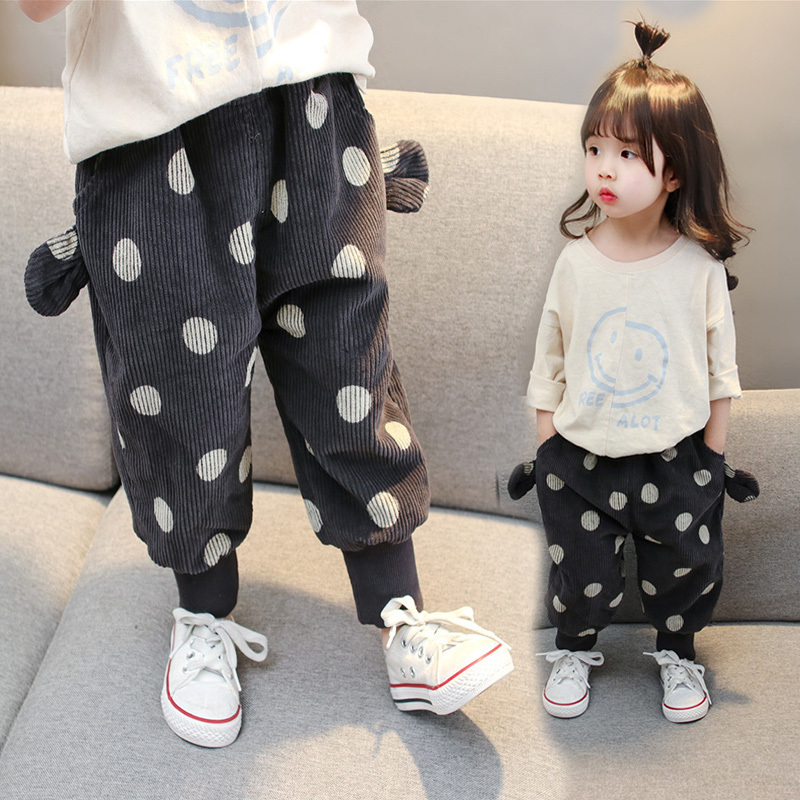 Childrens wear girls autumn and winter 2018 new Korean corduroy pants childrens autumn baby dot fashion casual pants