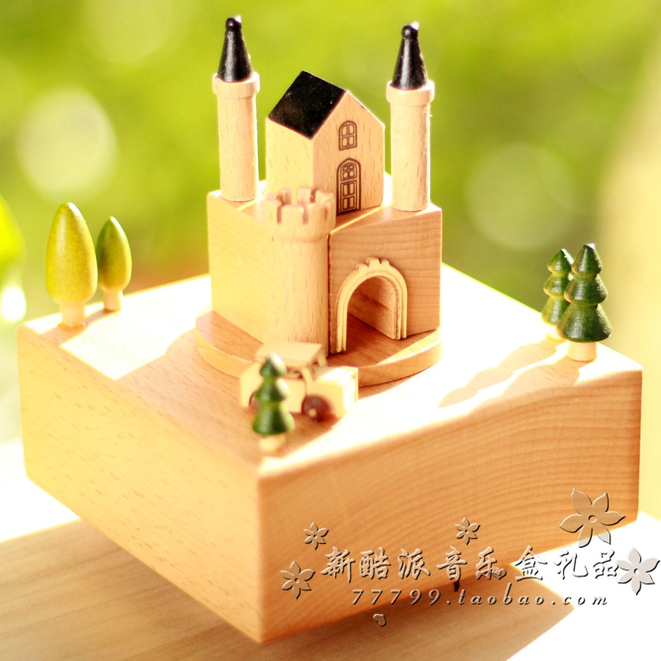 音乐盒八音盒精品木质发条旋转快乐城堡情人节生日儿童圣诞礼物