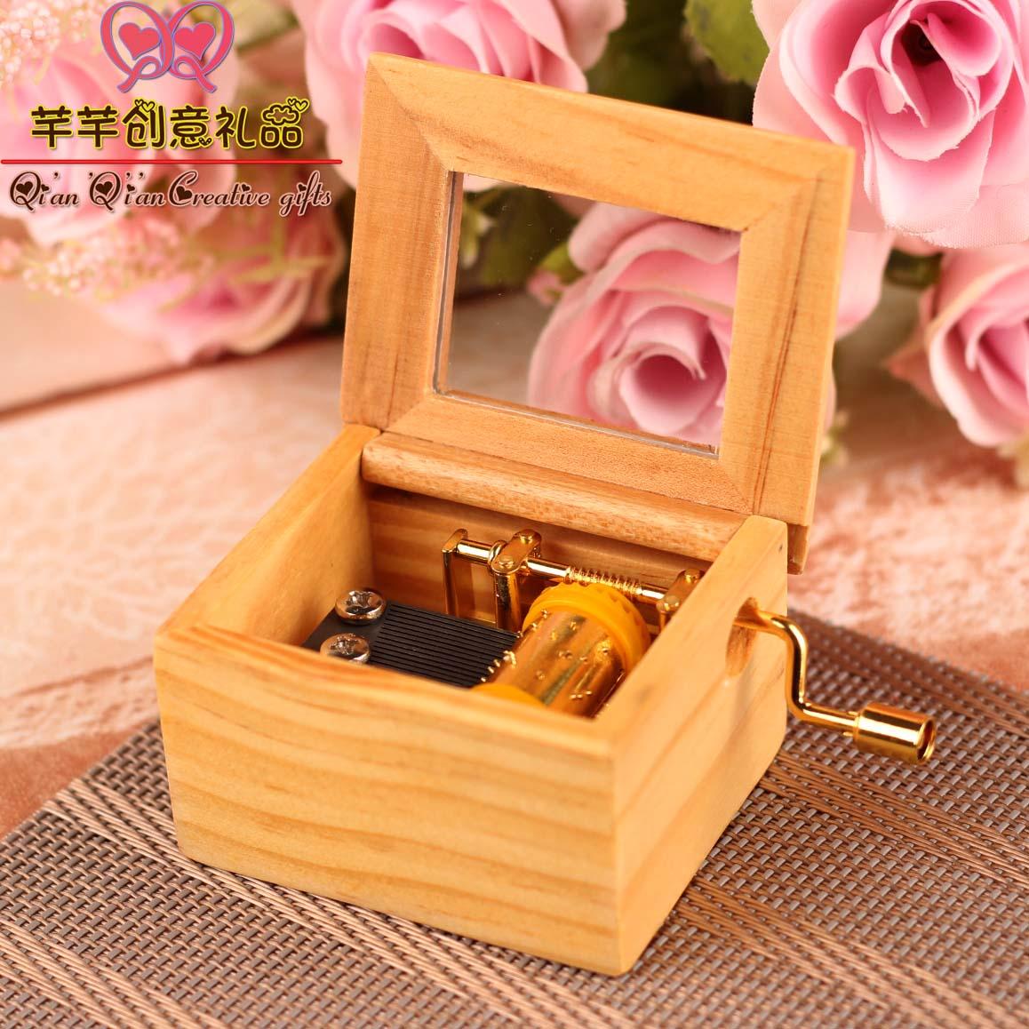 音乐盒 八音盒 精品木质手摇镀金男女生日爱情创意礼物天空之城