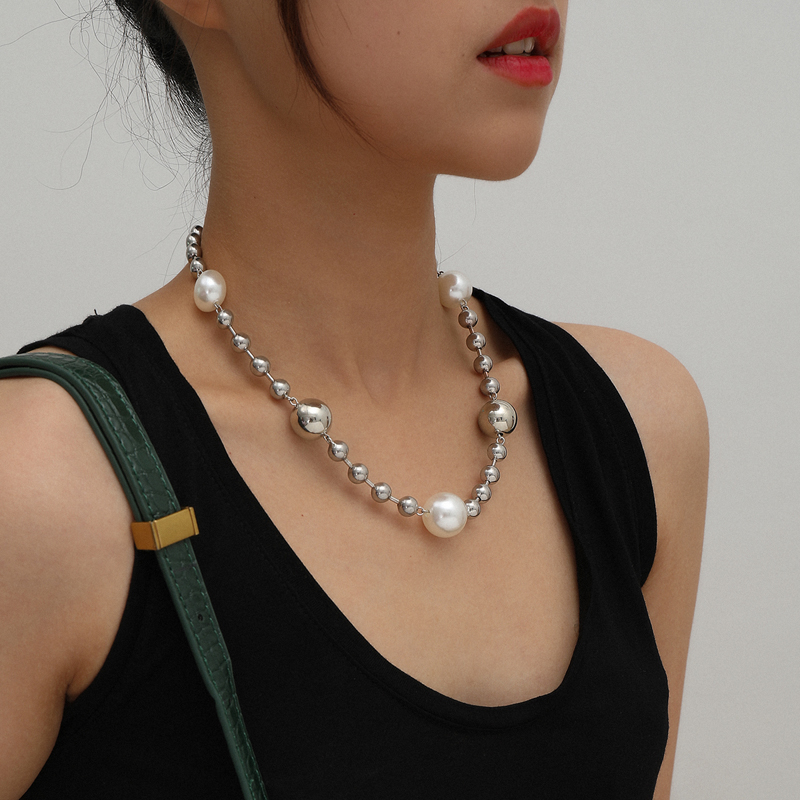 Fashion large pearl necklace trend hip hop Street bead splicing design simple cool style jewelry