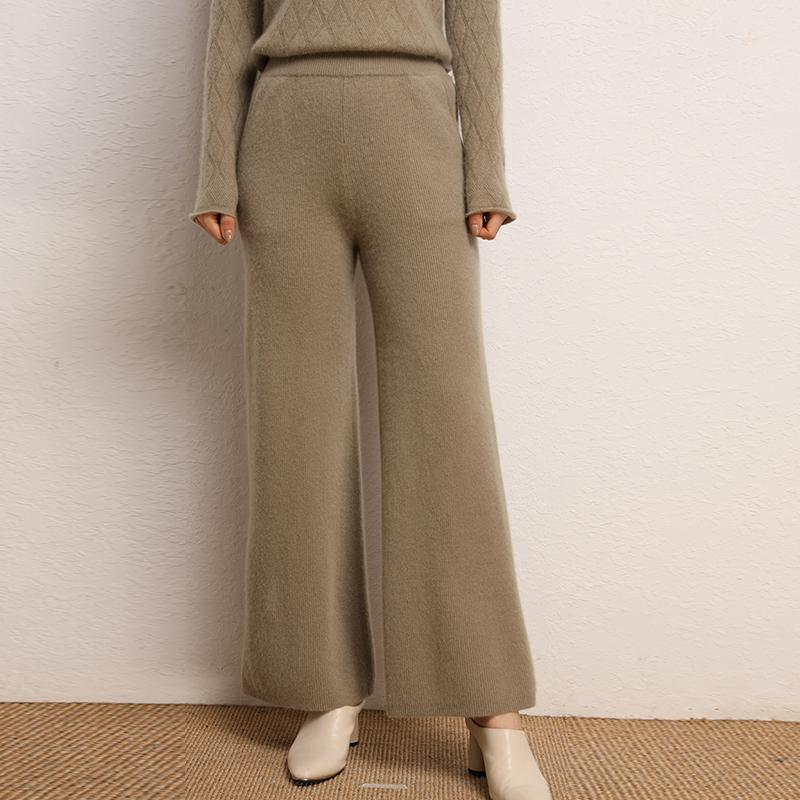 2021新款潮秋冬季女式韩版哈伦高腰针织直茼宽松显瘦外穿羊绒长裤