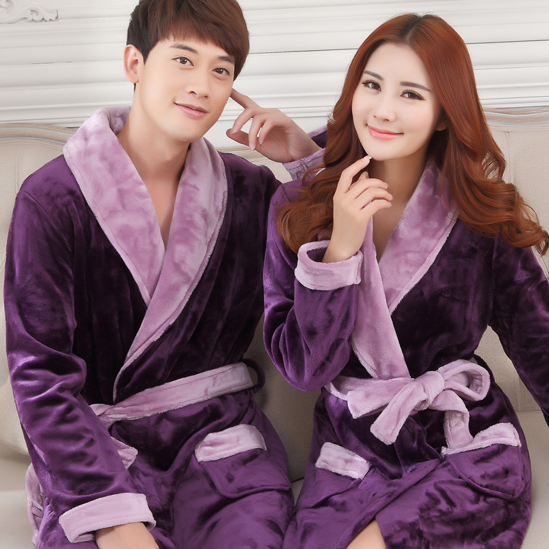 Autumn and winter coral velvet couples Nightgown womens long thickened warm flannel bathrobe mens pajamas large size household clothes