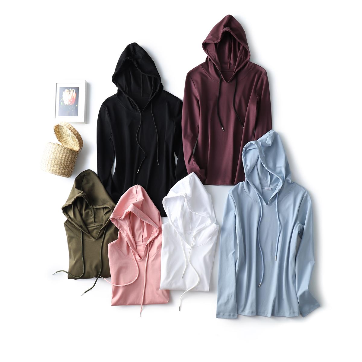 SKYINTL连帽丝光棉纯棉长袖t恤女修身百搭纯色卫衣打底衫女士上衣