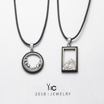 Vows couple pendant a pair of 925 silver personality collarbone chain pendant necklace mens and womens Gifts birthday Creative