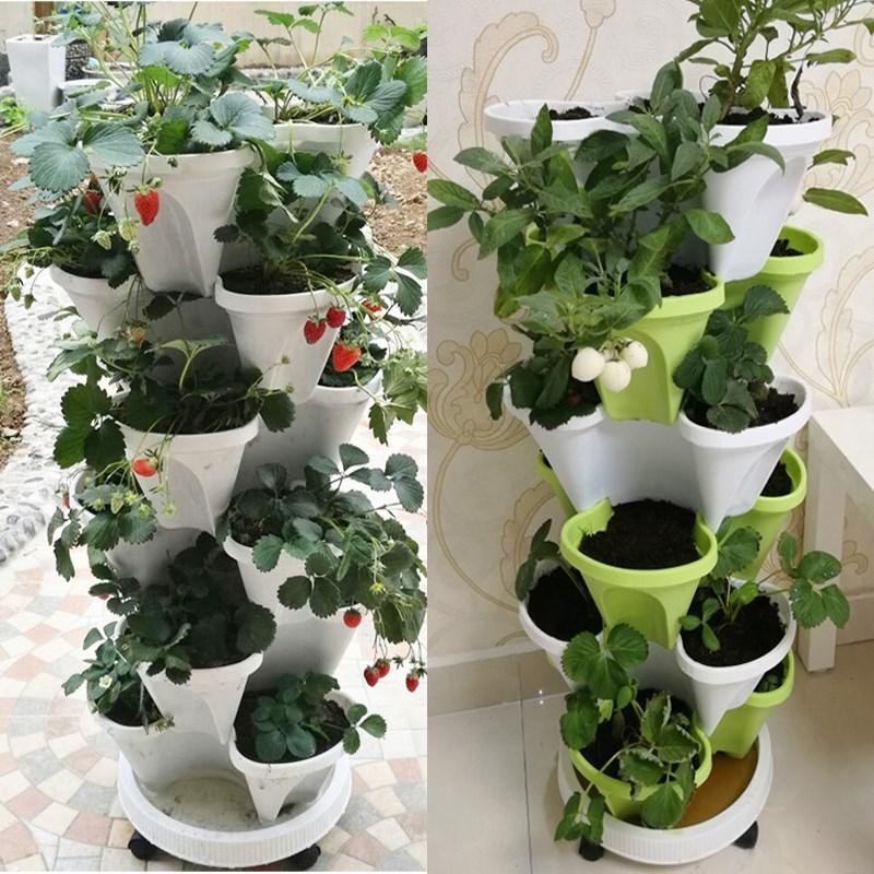 ベランダの小さい花園のアイデアの家庭イチゴを製造して鉢植えの棚の野菜の栽培箱の多肉のたらいの緑の?のたらいを栽培します。