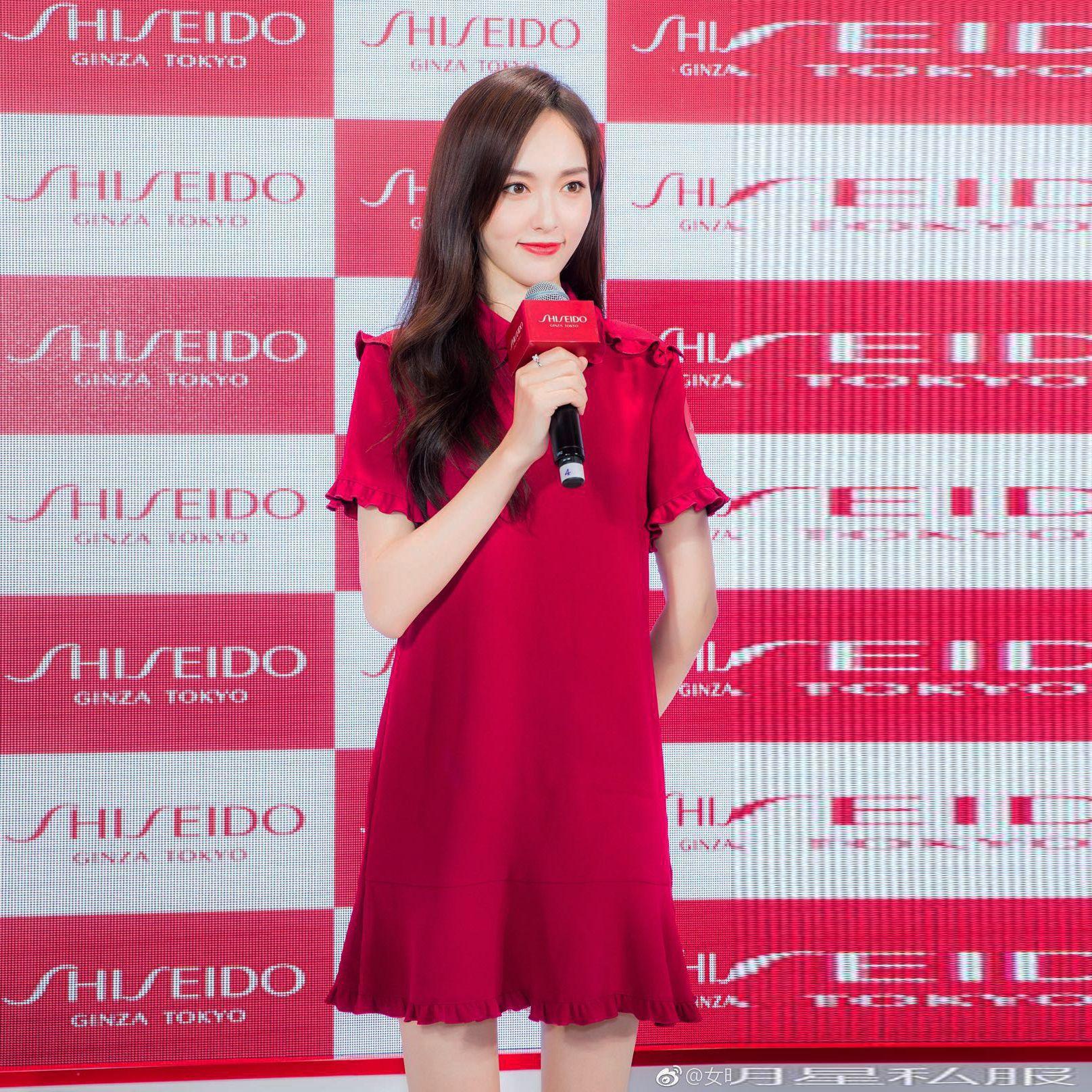 2018夏季新款女装明星唐嫣同款大红甜美娃娃领短袖气质修身连衣裙