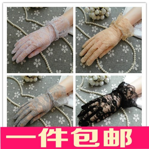 Thin gloves, womens sun protection, anti-skid driving, thin lace, breathable, short season ice lady