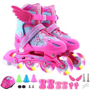全套旱冰鞋 瑞士初学者真好直排溜冰鞋 儿童可调男童女童闪光轮滑鞋