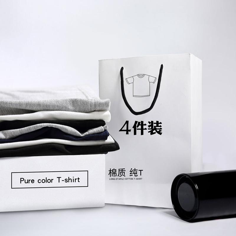 夏装男士短袖t恤大码纯色韩版半袖白色体恤潮流打底衫男生上衣服