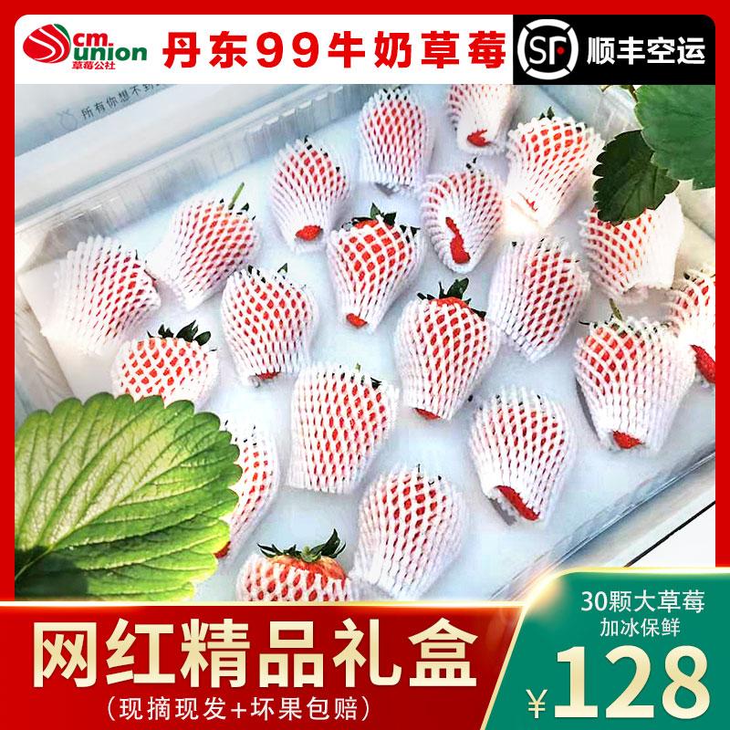 加冰保鲜 抖音网红大草莓新鲜丹东99牛奶草莓奶油水果精品礼盒装