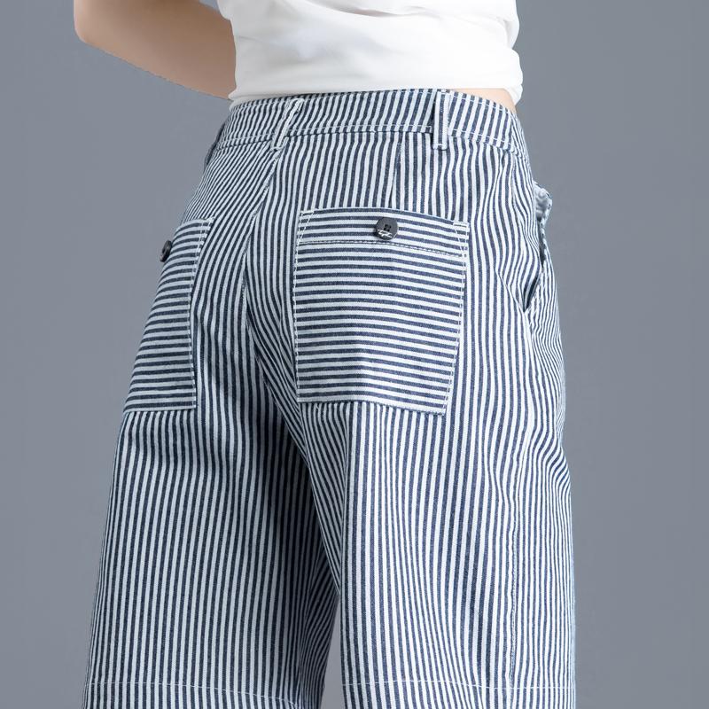 40岁条纹新款高腰春秋宽松牛仔裤