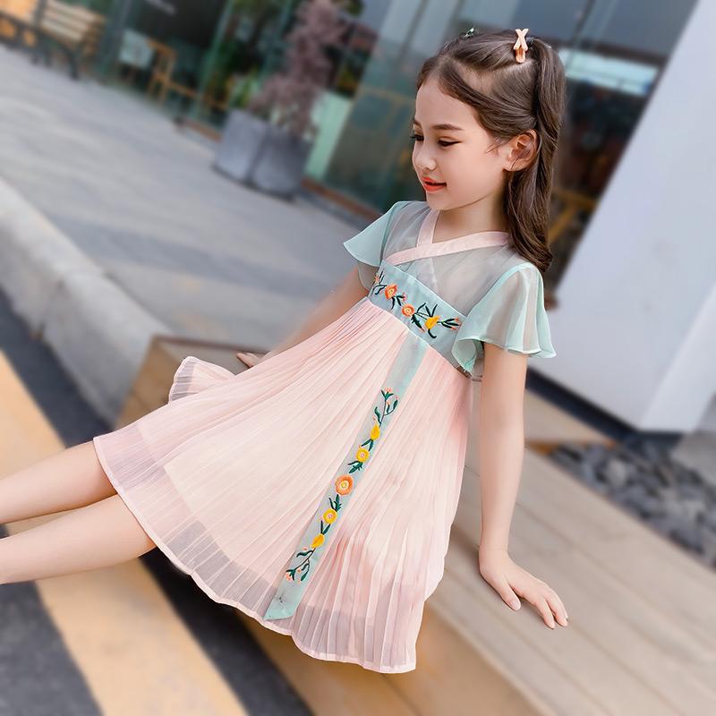 68.80元包邮女童汉服夏装中国风古装短袖裙子
