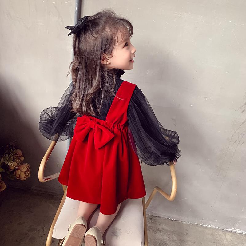 女童连衣裙秋装2020儿童网红裙子超洋气小女孩韩版红色丝绒背心裙
