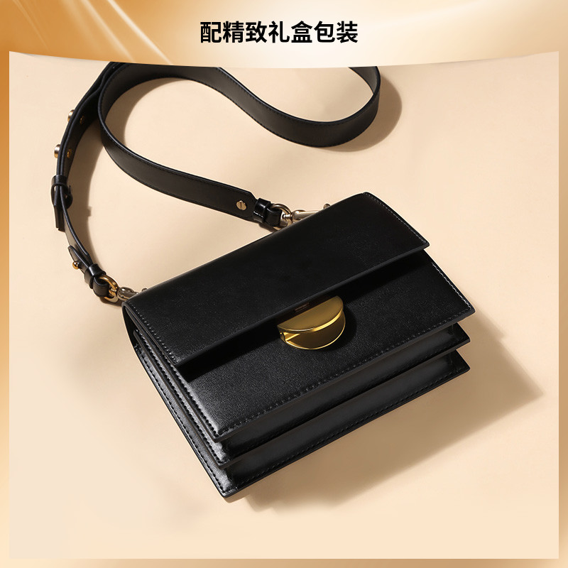 Organ bag womens bag small square bag retro bag wide shoulder belt semicircle lock 2020 new single shoulder small CK womens Bag Messenger Bag