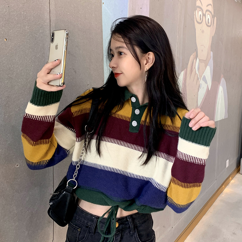 Quality inspection ghost Horse Department girls autumn color matching stripe short drawstring Polo neck knitted sweater women 8026