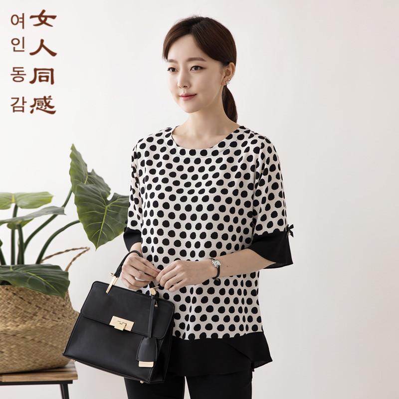 韩国代购2018夏品牌中老年女装妈妈装圆点气质五分袖百搭上衣T恤