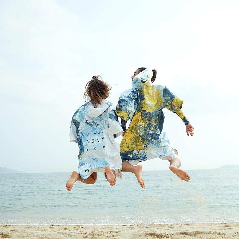 Nu-june速干沙滩斗篷情侣罩衫换衣巾浴巾浴袍潜水冲浪浮潜 吸水巾