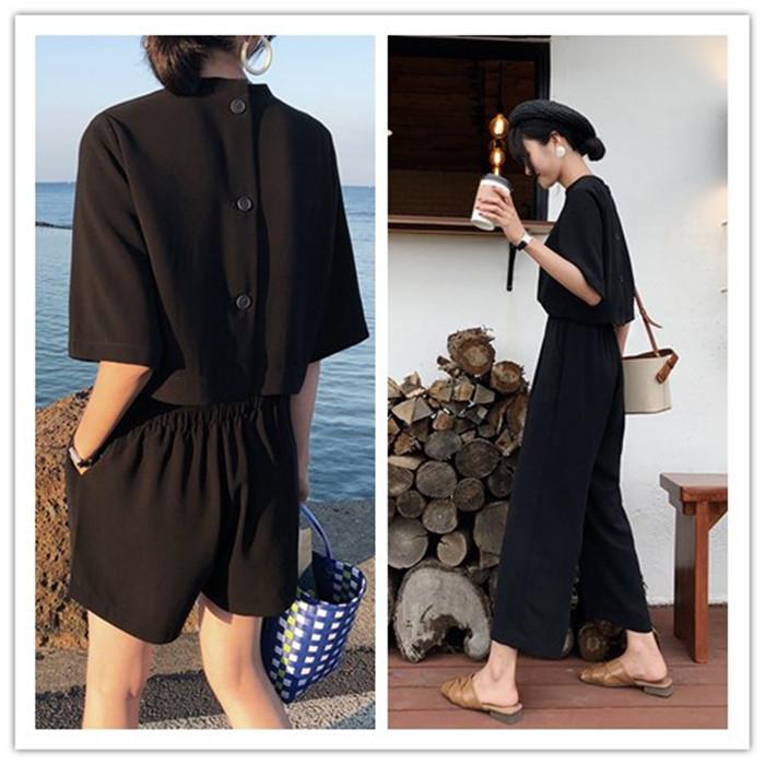 露背泰国连体黑色短裤女夏2020新款气质显瘦宽松时尚短袖连衣裤子