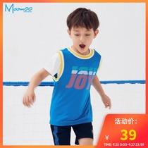 moomoo童装男童T恤儿童t恤2020夏季新款休闲男童撞色未来感背心T