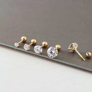 韩国正品14K黄金螺丝耳堵耳钉 四爪小锆石耳骨钉耳钉双面戴耳环