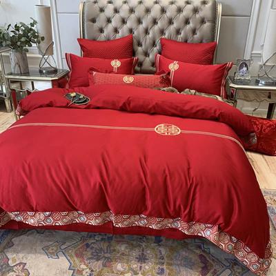 mark cross cotton embroidery cotton wedding celebration big red bedding four-piece home textile wedding happy word