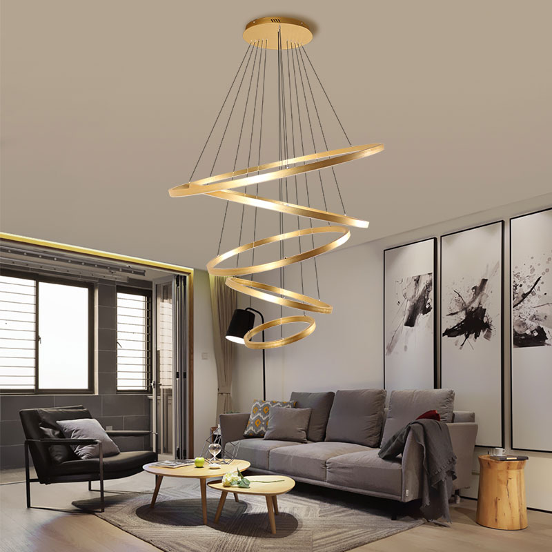 Living room circle chandelier gold art led modern simple fashion circle multi-layer creative personalized dining room lamp