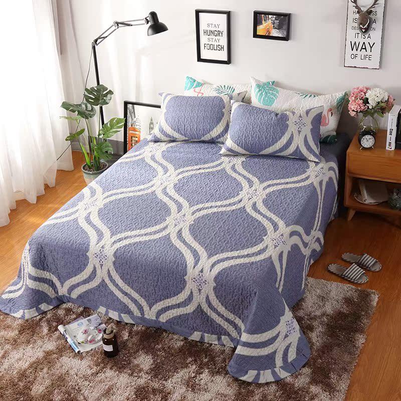 欧式床盖单件夹棉床单纯棉绗缝被空调被床上床铺盖韩国床盖三件套