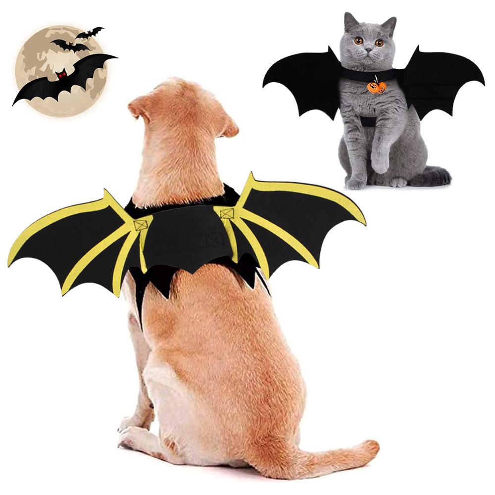 出口万圣节猫咪狗狗恶魔之翼服装蝙蝠翼装饰黑天使翅膀装饰道具