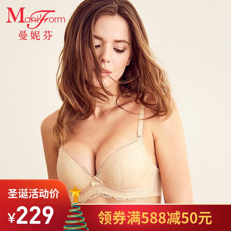曼妮芬商场同款聚拢内衣女蕾丝文胸收副乳调整型性感女士小胸胸罩