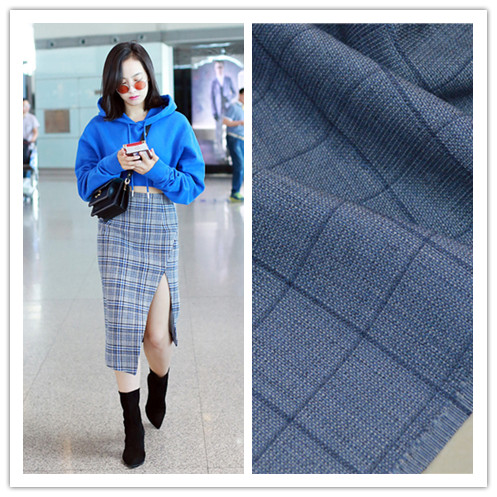 Italian Blue Plaid all wool worsted fabric suit trousers dress half skirt vest