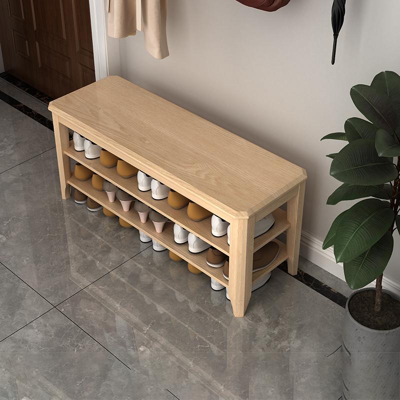 全实木换鞋凳家用进门玄关柜纯原木鞋柜现代简约可坐长条收纳凳子