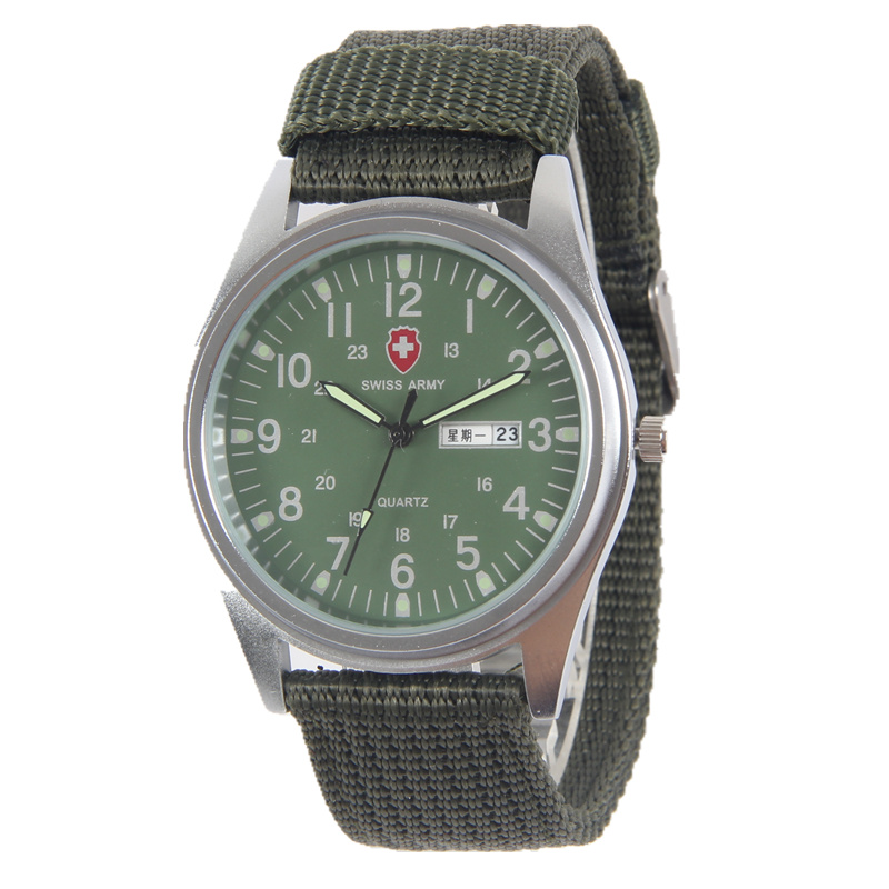 Fashion 50% off calendar canvas male student watch quartz electronic waterproof watch leisure outdoor sports Military Watch